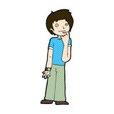 comic cartoon boy wondering Stock Photos