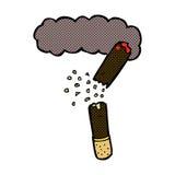 Comic cartoon broken cigar Royalty Free Stock Image