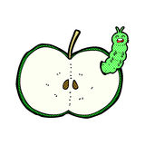 Comic cartoon bug eating apple Stock Photo