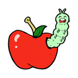 Comic cartoon bug eating apple Royalty Free Stock Photo