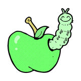 Comic cartoon bug eating apple Royalty Free Stock Image