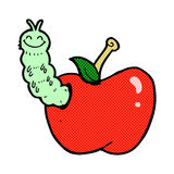 Comic cartoon bug eating apple Stock Photos