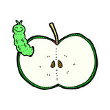Comic cartoon bug eating apple Stock Images