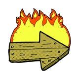 comic cartoon burning direction arrow Stock Photography