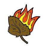 Comic cartoon burning dry leaf symbol Stock Photos
