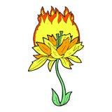 Comic cartoon burning flower Royalty Free Stock Photography