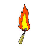 Comic cartoon burning match. Retro comic book style cartoon burning match Stock Photo