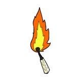 Comic cartoon burning match. Retro comic book style cartoon burning match Stock Image