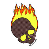 Comic cartoon burning skull Royalty Free Stock Photo