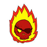 Comic cartoon burning skull. Retro comic book style cartoon burning skull Royalty Free Stock Image