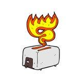 comic cartoon burning toaster Royalty Free Stock Photography