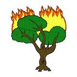 comic cartoon burning tree Royalty Free Stock Photo