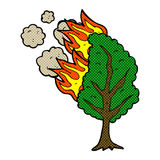 comic cartoon burning tree Stock Photo