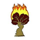 Comic cartoon burning tree Stock Image