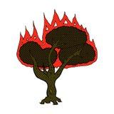 Comic cartoon burning tree Stock Photos