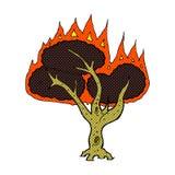 Comic cartoon burning tree Royalty Free Stock Image
