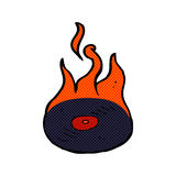 Comic cartoon burning vinyl record. Retro comic book style cartoon burning vinyl record Royalty Free Stock Photos