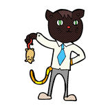 Comic cartoon business cat with dead mouse Stock Photos