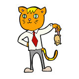 comic cartoon business cat with dead mouse Royalty Free Stock Photos