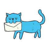 comic cartoon cat carrying letter Royalty Free Stock Images