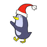 Comic cartoon christmas penguin Royalty Free Stock Image