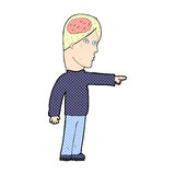 comic cartoon clever man pointing Royalty Free Stock Photography