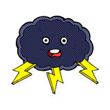 Comic cartoon cloud and lightning bolt symbol Stock Photography
