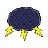 comic cartoon cloud and lightning bolt symbol Royalty Free Stock Photo