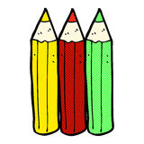 Comic cartoon coloring pencils Royalty Free Stock Photos