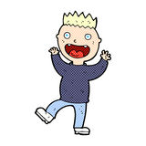Comic cartoon crazy happy man Stock Photo