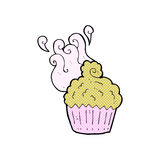 Comic cartoon cupcake Stock Image