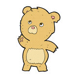 Comic cartoon curious teddy bear Royalty Free Stock Image