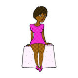 comic cartoon curious woman sitting Stock Photography