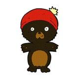 Comic cartoon cute black bear in hat Royalty Free Stock Photo