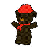 Comic cartoon cute black bear in hat and scarf Royalty Free Stock Image