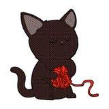comic cartoon cute black cat playing with ball of yarn Stock Photography