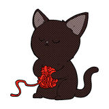 comic cartoon cute black cat playing with ball of yarn Royalty Free Stock Image