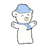 Comic cartoon cute polar bear in hat and scarf. Retro comic book style cartoon cute polar bear in hat and scarf Royalty Free Stock Images