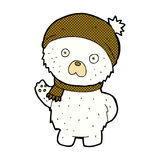 comic cartoon cute polar bear in winter hat and scarf Stock Photography