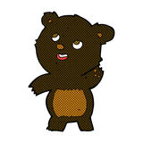 comic cartoon cute waving black bear teddy Royalty Free Stock Image