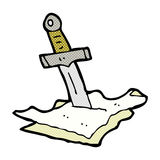comic cartoon dagger in maps Stock Photo