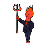 Comic cartoon devil with pitchfork Royalty Free Stock Photography
