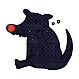 Comic cartoon dog scratching Royalty Free Stock Image