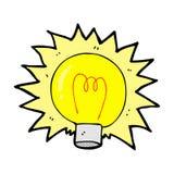 Comic cartoon electric light bulb Stock Images