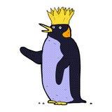 Comic cartoon emperor penguin waving Royalty Free Stock Image
