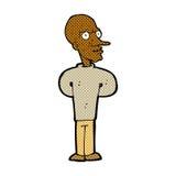 Comic cartoon evil bald man Stock Photos