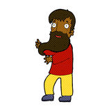 comic cartoon excited bearded man Stock Photography