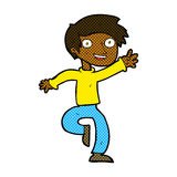 comic cartoon excited boy dancing Stock Photography