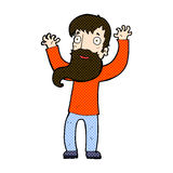 Comic cartoon excited man with beard. Retro comic book style cartoon excited man with beard Royalty Free Stock Images