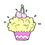 Comic cartoon exploding cupcake Royalty Free Stock Photo